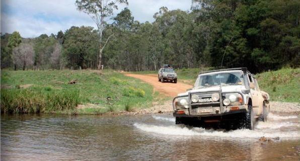 driving through river