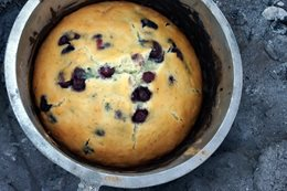Recipe: Giant blueberry camp oven muffin