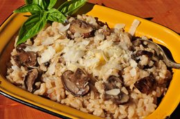 Oven Baked Mushroom and Bacon Risotto
