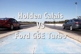 Holden Calais V vs Ford G6E Turbo drag race
