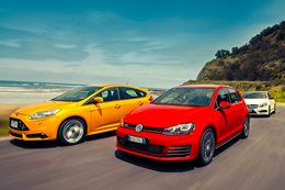 Ford Focus ST vs Mercedes Benz A250 Sport vs Volkswagen Golf GTI