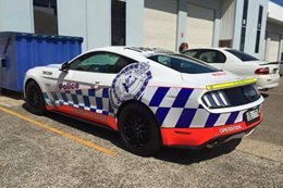 Ford Mustang arrives as highway patrol car