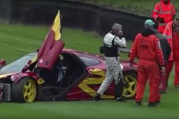 Nick Mason McLaren F1 GTR crash Goodwood main