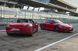 2018 Porsche 718 Boxster GTS and Cayman GTS rear