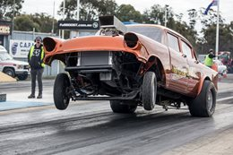 BLOWN '57 CHEV GASSER IS A HANDFUL ON THE TRACK