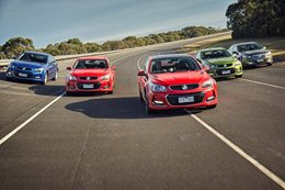 Holden Commodores driving around proving ground