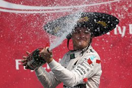 Nico Rosberg celebrates win in Mexico F1 race