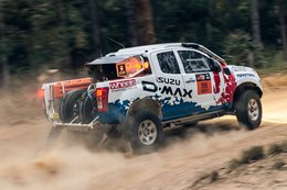 Bruce Garland tackles Rally Australia in an Isuzu D-Max Dakar ute