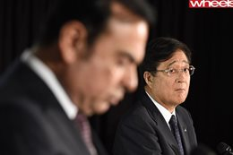 Nissan chief executive Carlos Ghosn, left, and Mitsubishi Motors president Osamu Masuko. Image: AFP/Getty