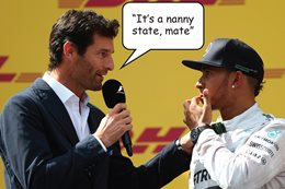 Mark Webber with Lewis Hamilton