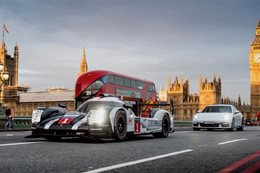 Mark Webber Porsche Le Mans racer  London