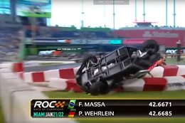 Pascal Wehrlein flips his car, Slingshot, at Race of Champions
