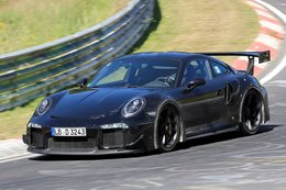 Porsche 911 gt2rs spy header front side action