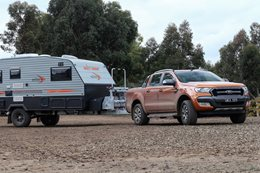 Ford Ranger towing caravan