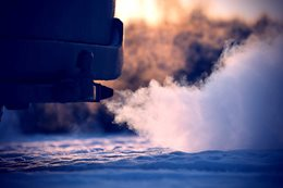 Warming engine on cold day