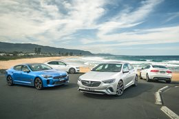 Holden Commodore VXR v Kia Stinger GT v Jaguar XE 25t v Skoda Superb 206 TSI comparison review