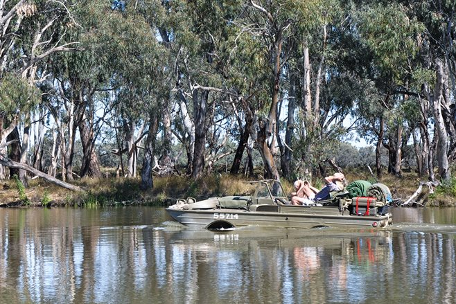 Amphibious Ford Jeeps on the Murray River