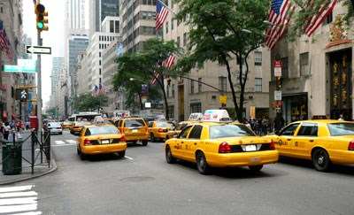 Traditional cabs on the way out in New York City