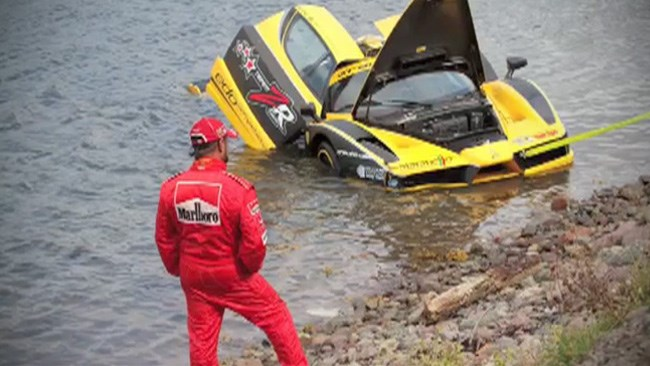 World's fastest Ferrari spins into a lake