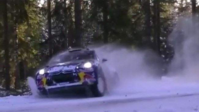 Rally driver narrowly avoids disaster in the snow