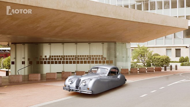 A Jaguar XK140 looks even better without wheels