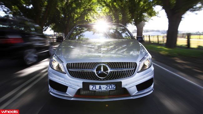 Review: Mercedes, A250, Golf GTi, BMW, Audi, Wheels magazine, new, fast