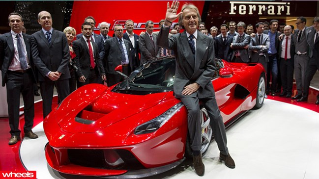Luca Cordero di Montezemolo, chairman of Ferrari SpA, launches the new Ferrari LaFerrari