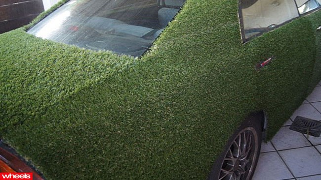 Grass covered Magna, Mitsubishi AstroTurf, green car, weird car, bizarre car, Wheels magazine
