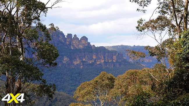The Three Sisters as seen from The Golden Stairs, Blue Mountains.