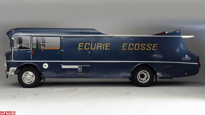 Wheels magazine, bonhams, auction, million, rare, bus, win, Ecurie Ecosse