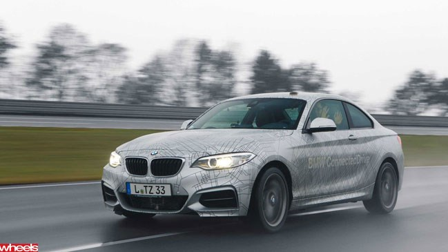 Wheels magazine, motoring news, BMW 235i, self-drive, BMW slide car