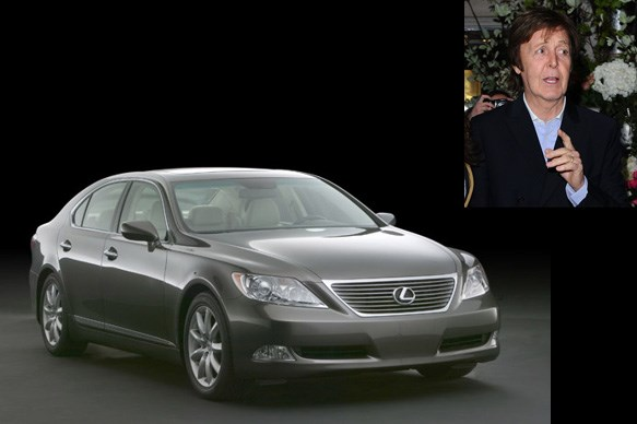 Paul McCartney and his Lexus LS600H