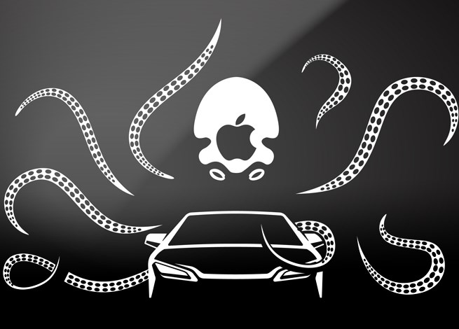 Octopus with tentacles around a car