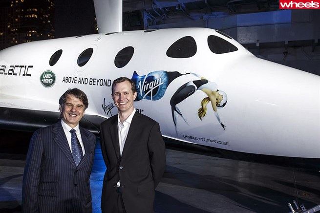 Dr Ralf Speth, CEO of Jaguar Land Rover, with George Whitesides, CEO of Virgin Galactic