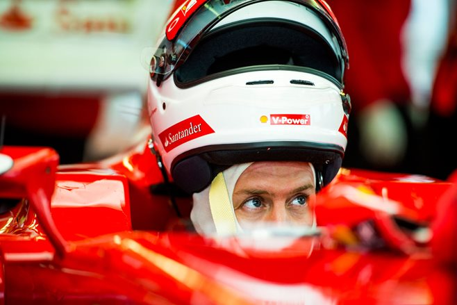 Sebastian Vettel arrives at Ferrari