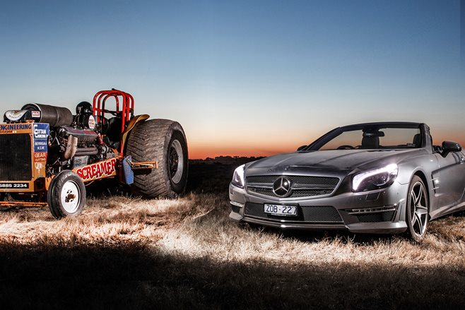 Mercedes-Benz SL65 AMG goes tractor pulling