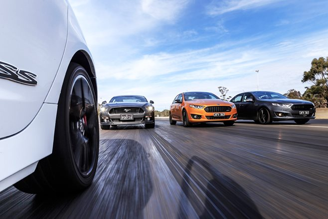 Holden SS-V Redline vs Ford Falcon Sprints vs Ford Mustang GT
