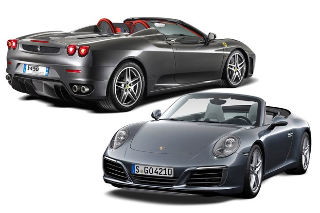 new vs used 2006 ferrari 430 spider vs porsche 911 cabriolet motor. Black Bedroom Furniture Sets. Home Design Ideas