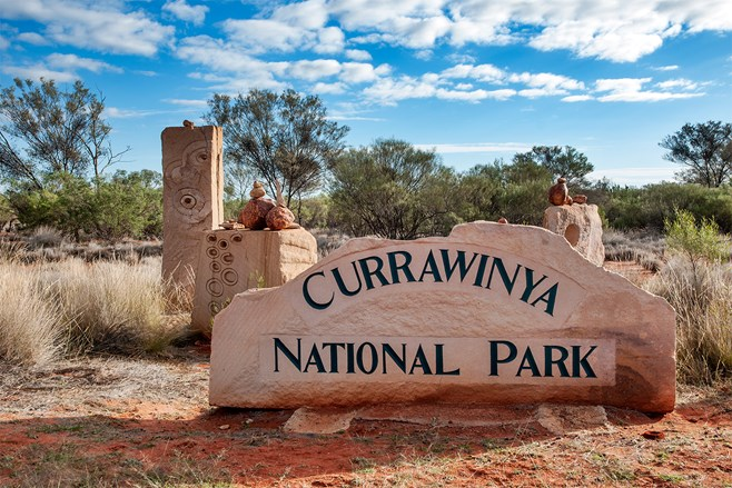 Currawinya NP entrance sign