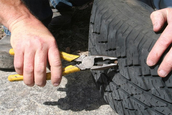 pliers and tyre