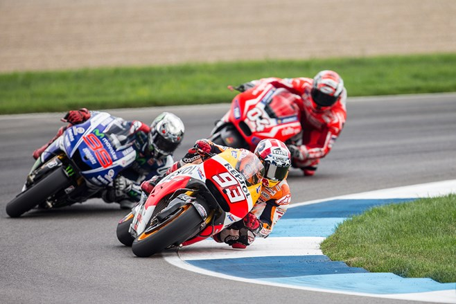 Marc Marquez leads at Indianapolis