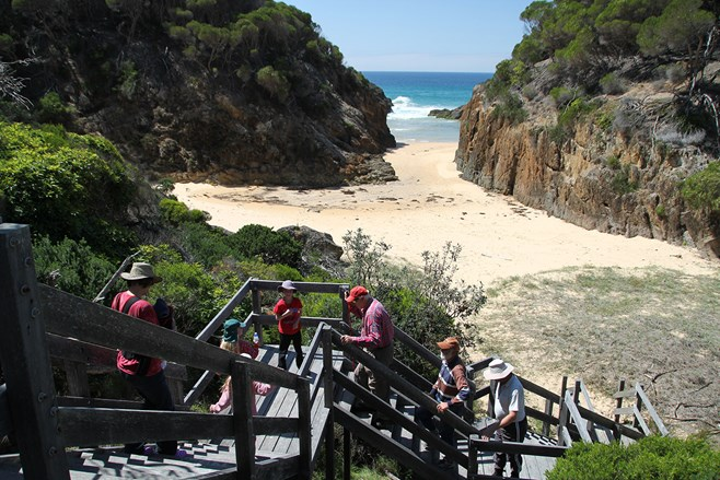 Steps down to Wineglass Bay