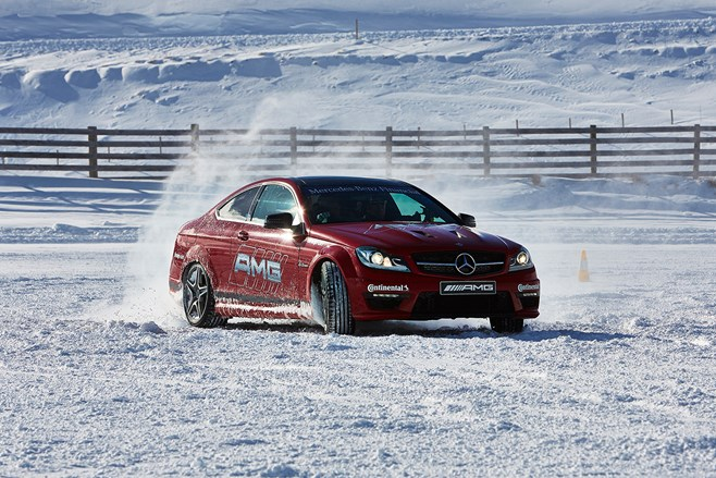 Mercedes Benz AMG ice driving challenge drift snow