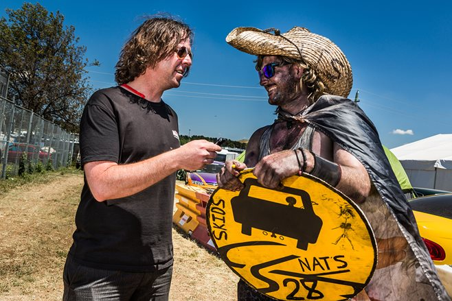 Street Machine Summernats mag editor Matt Reekie (left) at work