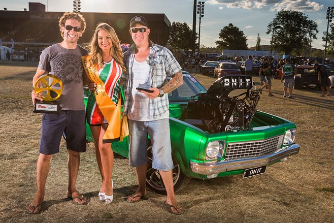 Matt Cowan and Mark Siracusa with Miss Summernats 28, Monique Dignan-Smith