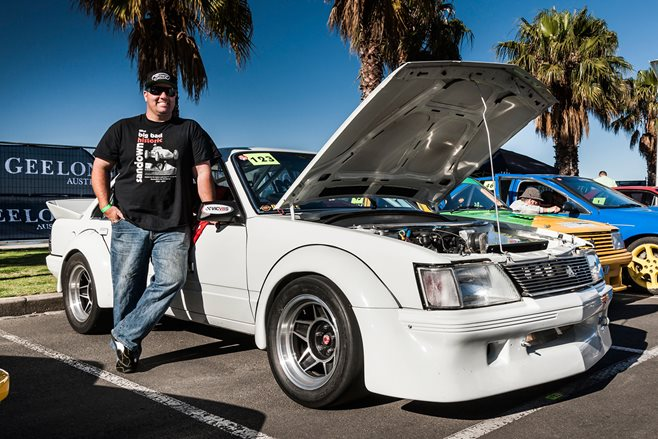 Bear and his VH racer at the Geelong Revival