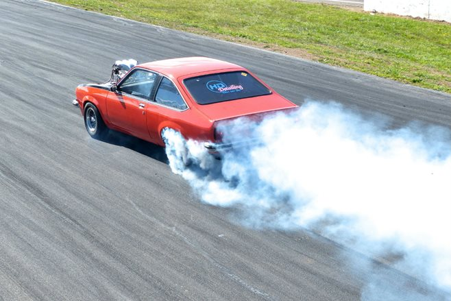 Holden Torana power skid at Performance Car Mania