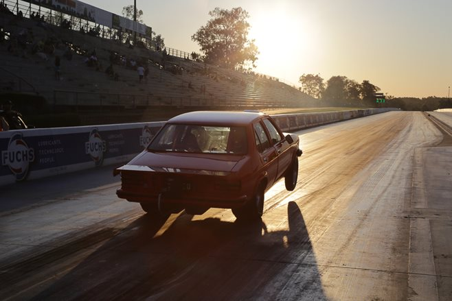 Holden Torana wheelstand drag race