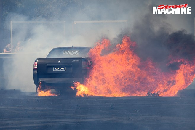 Holden VE Ute burnout fire