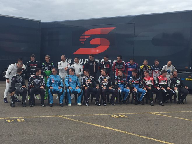 V8 Supercars driver assemble for the announcement